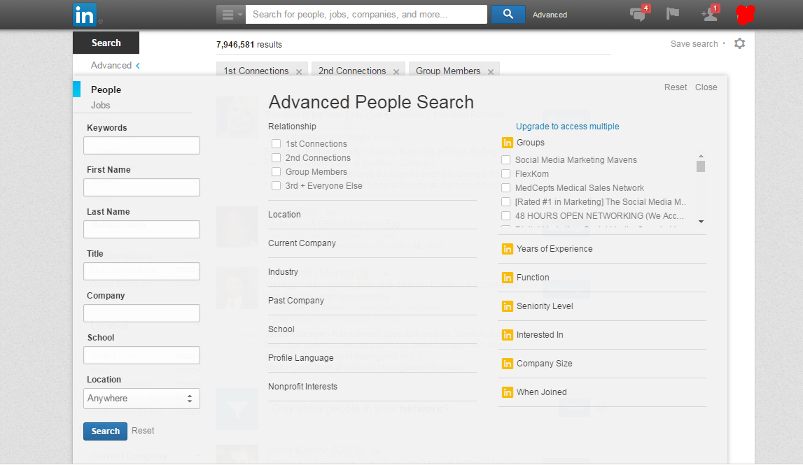 Advance Search Feature of LinkedIn