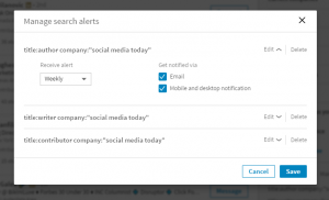 LinkedIn saved search